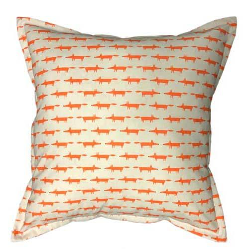 Fox mini in orange on white cushion | Scatter cushion cover