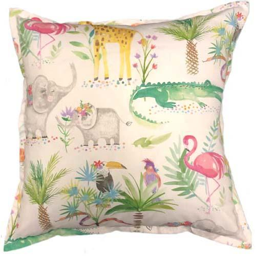 Forest Animals printed on cushion | Crocodile | Eliphant | Flamingo | Kids room cushions