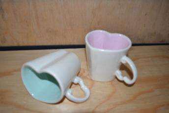 handmade ceramic heart shaped coffee mugs