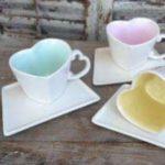 Sweetheart design coffe mugs and saucers   handmade ceramics