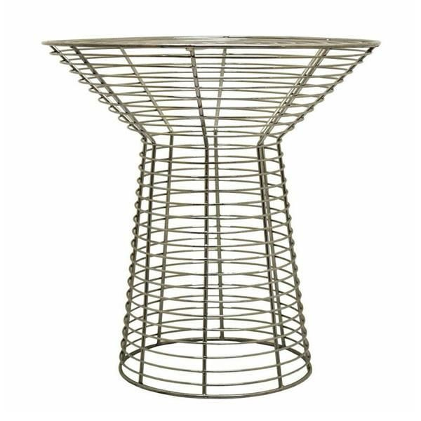 Chrome coloured wire side table with glass top