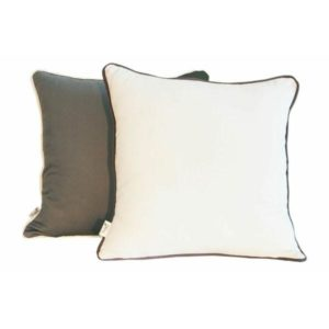 Charcoal coloured scatter cushion with white cotton piping