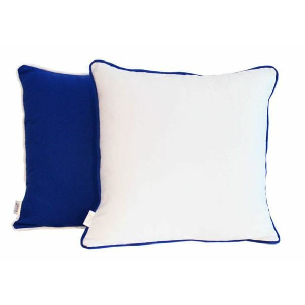 White and blue cotton scatter cushions