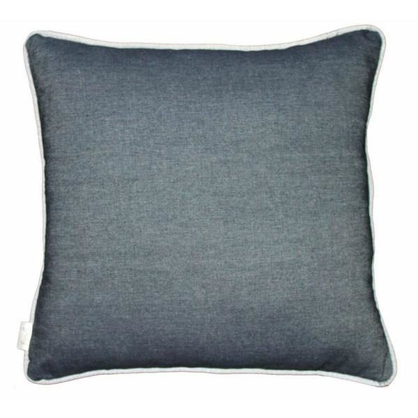 Denim cushion with silver piping