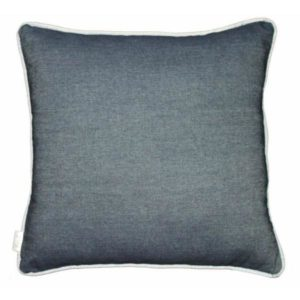 Denim cushion with duck egg piping