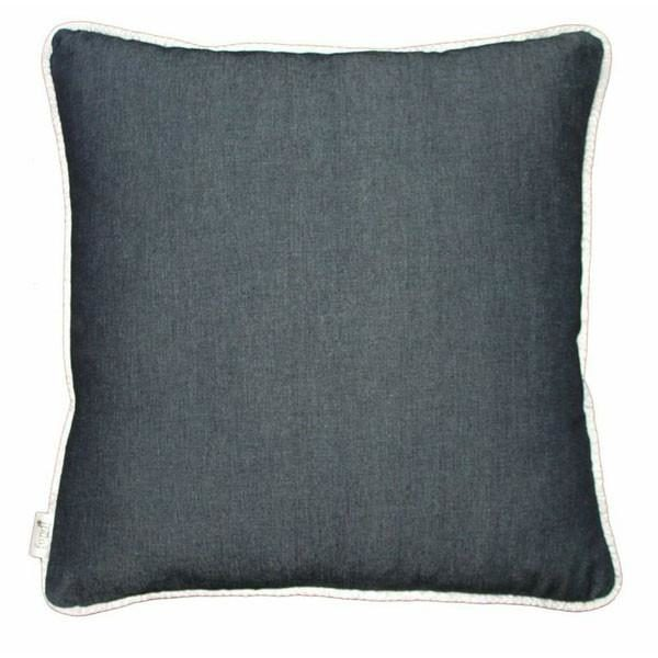 Denim scatter cushion with white piping