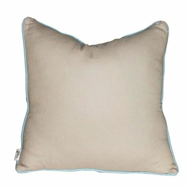 Beige Linen Scatter Cushion with Sky Blue Piping Border